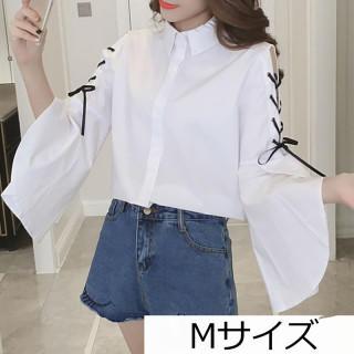 白シャツ・白ブラウス 肩リボン 韓国ファッション好きに♪(シャツ/ブラウス(長袖/七分))