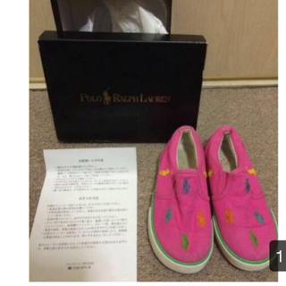 サイズ16ラルフローレンのピンクにカラフルポニーの靴