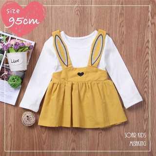アウトレット⭐️うさぎチュニックワンピ95cm(タグ110)海外子供服(Tシャツ/カットソー)