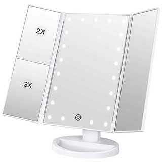 化粧鏡 三面鏡  led付き 折りたたみ 拡大鏡 2&3倍 明るさ調節可能
