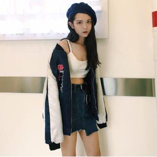 原宿系 ファッション レディース ネイビー 紺 ホワイト  (スカジャン)