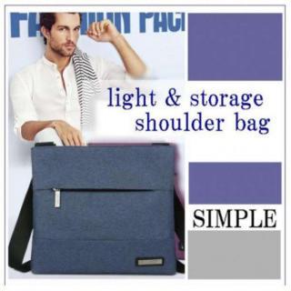 メンズ シンプル ネイビー ショルダーバッグ 防水 軽量 メッセンジャーバッグ