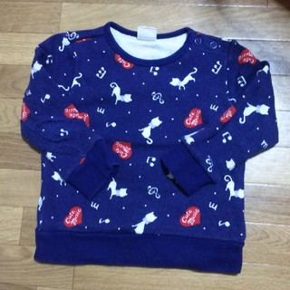 ムージョンジョン(mou jon jon)の秋冬 サイズ90 猫とハート柄がcute♥️トレーナー(Tシャツ/カットソー)