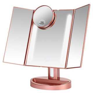 化粧鏡 LED三面鏡 折りたたみ式 10倍拡大鏡付き 明るさ調節