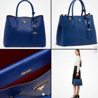 プラダ(PRADA)の美品! PRADA プラダ サフィアーノ バッグ ダブルバッグ  青 ブルー(ハンドバッグ)