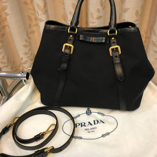 プラダ(PRADA)の美品 dfs購入 プラダ ショルダーバッグ 黒 キャンバス 2way PRADA(ハンドバッグ)