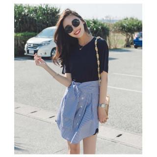 人気 韓国スタイル 重ね着しているようなミニワンピース