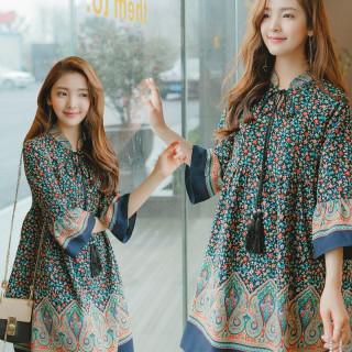 2017 韓国ファッション 花柄 シフォンドレス 薄手 人気商品!