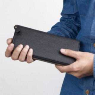 KU089 高級PUレザー長財布 シンプル 多機能 ネイビー