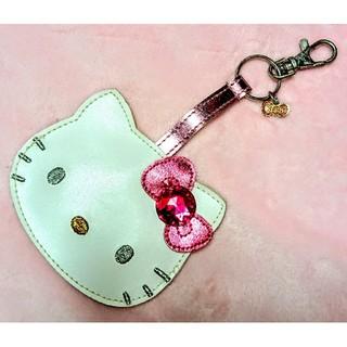 サンリオ(サンリオ)の新品★キティ ミラーチャーム ストラップ 鏡 ピンク リボン ラインストーン(バッグチャーム)