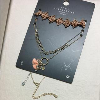 ザラ(ZARA)のザラ 三連セット ネックレス ビジュー チョーカー チェーン タッセル リボン(ネックレス)