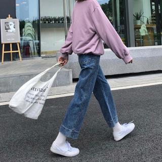 GOGOSING - 韓国 ハイウエストデニムパンツ  ブルー