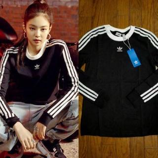 アディダス(adidas)のアディダス black pink ジェニ着用  スリーストライプ 長袖(Tシャツ(長袖/七分))