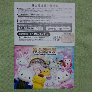 のうさんマームー様専用☆サンリオ株主優待券2枚(キャラクターグッズ)