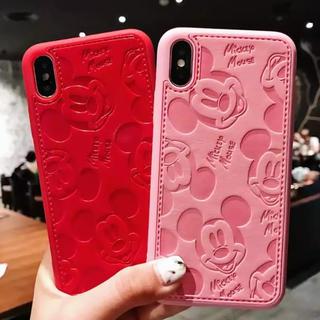 Disney - iPhoneX Disney Mickey ミッキーレザーケース カバー赤