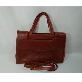 ニコルミラー(Nicole Miller)の本物ニコルミラー 本革ハンドバッグショルダー2WAY鞄赤茶ブラウンレディース仕事(ショルダーバッグ)