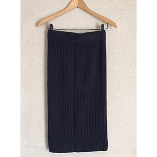 GU - *美品 ◎ GU ジーユー♪ネイビー系 # リブ編みニットスカート☆Mサイズ