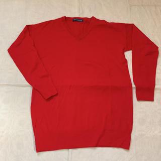 薄手 Vネックセーター  赤(ニット/セーター)