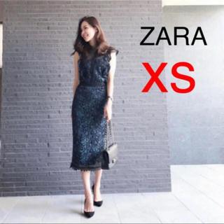 ザラ(ZARA)の新品!ZARA レースワンピース フリル 総レース ミディ丈(ひざ丈ワンピース)