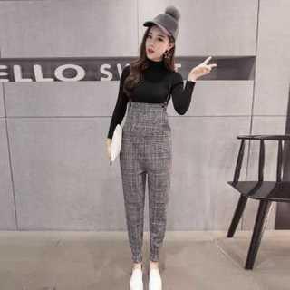 グレンチェック サロペット 秋冬 韓国ファッション グレー(サロペット/オーバーオール)