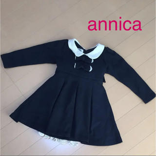 アニカ(annika)の韓国子供服ANNICA アニカ ワンピース 90 ネイビー(ワンピース)