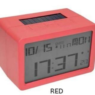 送料込 新品 値下 ハイブリット 電波 フリスコ LCD 置時計 076 赤  (置時計)