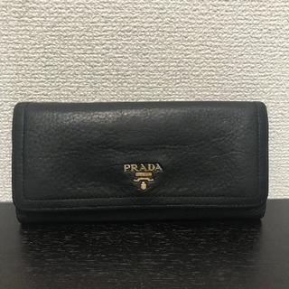プラダ(PRADA)のプラダ 長財布 レザー 黒 Wホック(財布)