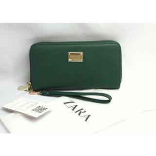 ザラ(ZARA)のZARA BASIC■ハンドストラップ付きウォレット■緑(財布)