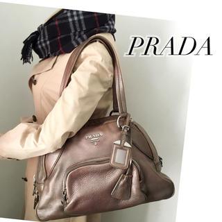 プラダ(PRADA)の良好‼️プラダ✨本革❤️革タグ  ショルダーバッグ(送料込)(ショルダーバッグ)