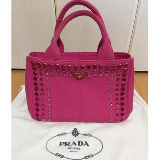 プラダ(PRADA)のPRADA トート カナパ ピンク ビジュー 美品(トートバッグ)