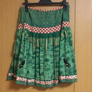 ツモリチサト(TSUMORI CHISATO)のツモリチサト熊の森スカート緑 くまクマ(ひざ丈スカート)