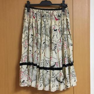 ツモリチサト(TSUMORI CHISATO)のツモリチサトシルクスカート ダンス白(ひざ丈ワンピース)