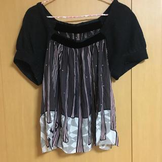 ツモリチサト(TSUMORI CHISATO)のツモリチサト カットソー ブラウス 黒(カットソー(半袖/袖なし))