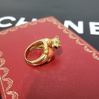 カルティエ(Cartier)の確実正規品 カルティエ パンテール サンゴ サファイア リング(リング(指輪))
