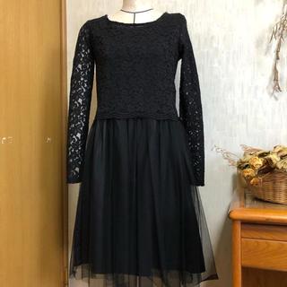 ミスティック(mystic)の結婚式 お呼ばれ ドレス ワンピース チュール レース 上下セット 黒 M(ひざ丈ワンピース)