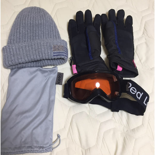 【値下げしました!】スノボ ゴーグル、グローブ、ニット帽 セット(ウエア/装備)