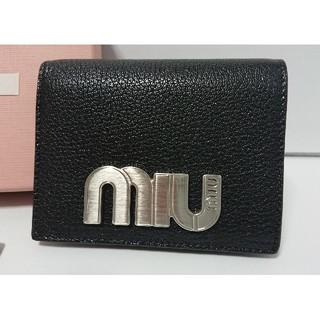 ミュウミュウ(miumiu)の新品未使用 ミュウミュウ miumiu 折り財布 マドラス ブラック(財布)
