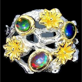 新品 ★鑑別書付★16号 1点物 黄金花 3ct天然ブラックオパール 指輪(リング(指輪))