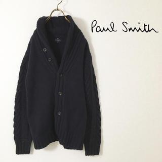 ポールスミス(Paul Smith)のPaul smith ショールカラー ケーブルニット 厚手 ネイビー ラムウール(ニット/セーター)