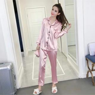 新品未使用 シルク調 サテンパジャマ セット ルームウェア  ピンク(ルームウェア)
