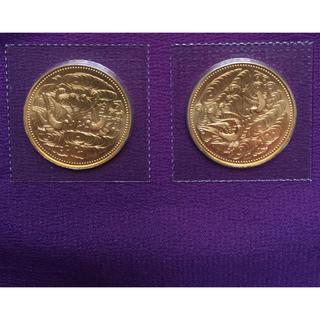 天皇在位六十年十万円記念金貨2枚(貨幣)