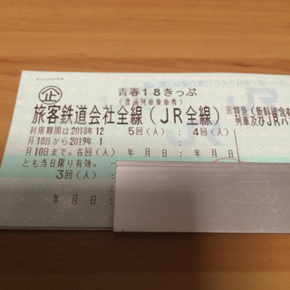 青春18切符 2回 すぐ発送1/5迄に静岡市内着要返却送料無料 937(鉄道乗車券)
