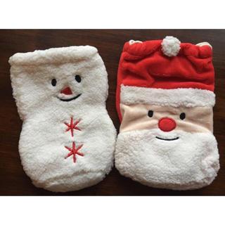 新品 クリスマス サンタ+スノーマン モコモコ巾着セット(その他)