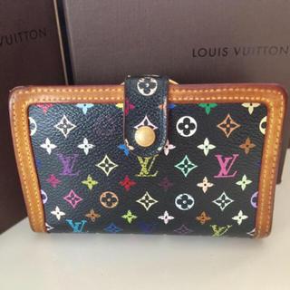 ルイヴィトン(LOUIS VUITTON)の正規品ルイヴィトンブラックマルチカラーがま口折り財布(財布)