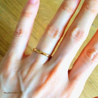 7号サイズ ステンレス製 つやつやイエローゴールドリング2mm 指輪 (リング(指輪))