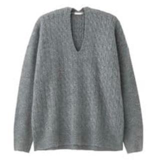 GU - ケーブルオーバーサイズVネックセーター(長袖)