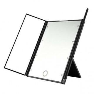 女優ミラー 三面鏡 化粧鏡 卓上 LEDミラー ライト付き 黒
