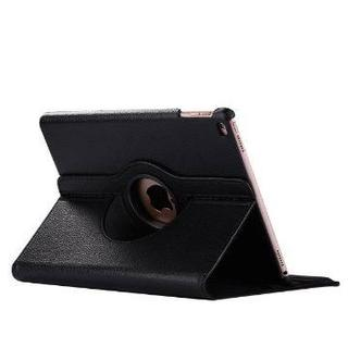 iPad 6世代/5世代 360度回転機能付 ブラック レザーケース(その他)