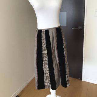クレデヴェール(cledevers)のベルベット ツィード 秋冬スカート(ひざ丈スカート)