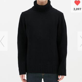 GU - Mサイズ GU ローゲージタートルネックセーター 黒